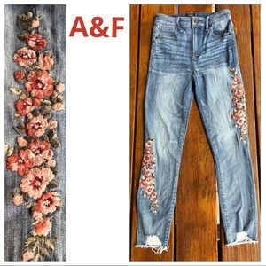 A&F High Rise Ankle Floral Embroidered Jeans